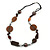 Striking Wood, Ceramic, Acrylic Bead with Black Suede Cords Necklace (Brown/ Silver) - 72cm L