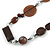 Striking Wood, Ceramic, Acrylic Bead with Black Suede Cords Necklace (Brown/ Silver) - 72cm L - view 3
