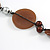 Striking Wood, Ceramic, Acrylic Bead with Black Suede Cords Necklace (Brown/ Silver) - 72cm L - view 6