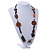 Striking Wood, Ceramic, Acrylic Bead with Black Suede Cords Necklace (Brown/ Silver) - 72cm L - view 2
