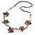 Brown Shell Floral Faux Leather Cord Long Necklace - 90cm L