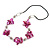 Fuchsia Shell Floral Faux Leather Cord Long Necklace - 80cm L