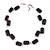 Two Strand Square Plum/ Purple Glass Bead Silver Tone Wire Necklace - 48cm L/ 5cm Ext