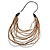 Long Layered Multi-strand Brown/ Transparent Glass Bead Black Faux Leather Cord Necklace - 100cm L