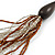 Long Layered Multi-strand Brown/ Transparent Glass Bead Black Faux Leather Cord Necklace - 100cm L - view 2