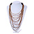 Long Layered Multi-strand Brown/ Transparent Glass Bead Black Faux Leather Cord Necklace - 100cm L - view 3