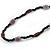 Long Black Glass, Lavender Ceramic Bead Necklace - 104cm L - view 5