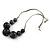 Dark Grey/ Black Resin Bead Faux Suede Cord Necklace - 46cm L/ 3cm Ext