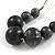 Dark Grey/ Black Resin Bead Faux Suede Cord Necklace - 46cm L/ 3cm Ext - view 4