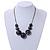 Dark Grey/ Black Resin Bead Faux Suede Cord Necklace - 46cm L/ 3cm Ext - view 3