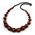 Chunky Brown Wood Bead with Black Cotton Cord Necklace - 60cm L