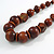 Chunky Brown Wood Bead with Black Cotton Cord Necklace - 60cm L - view 3