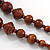 Chunky Brown Wood Bead with Black Cotton Cord Necklace - 60cm L - view 5