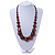 Chunky Brown Wood Bead with Black Cotton Cord Necklace - 60cm L - view 2