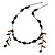 Vintage Inspired Black Ceramic/ Brown Bone Bead with Tassel Bronze Tone Chain Necklace - 96cm L