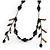 Vintage Inspired Black Ceramic/ Brown Bone Bead with Tassel Bronze Tone Chain Necklace - 96cm L - view 3