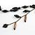 Vintage Inspired Black Ceramic/ Brown Bone Bead with Tassel Bronze Tone Chain Necklace - 96cm L - view 4