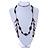 Vintage Inspired Black Ceramic/ Brown Bone Bead with Tassel Bronze Tone Chain Necklace - 96cm L - view 2