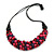 Purple/ Deep Pink Cluster Wood Bead Chunky Necklace with Black Cotton Cord - 70cm L