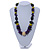 Statement Wood Bead Necklace with Black Cotton Cords (Purple, Black, Green) - 70cm L - view 2