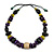 Statement Wood Bead Necklace with Black Cotton Cords (Purple, Black, Green) - 70cm L - view 4
