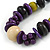 Statement Wood Bead Necklace with Black Cotton Cords (Purple, Black, Green) - 70cm L - view 3