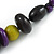 Statement Wood Bead Necklace with Black Cotton Cords (Purple, Black, Green) - 70cm L - view 5