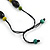 Statement Wood Bead Necklace with Black Cotton Cords (Purple, Black, Green) - 70cm L - view 6
