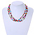 3 Strand Multicoloured Ceramic, Silver Acrylic Bead Necklace - 44cm L - view 2
