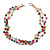 3 Strand Multicoloured Ceramic, Silver Acrylic Bead Necklace - 44cm L - view 3