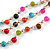 3 Strand Multicoloured Ceramic, Silver Acrylic Bead Necklace - 44cm L - view 4