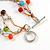 3 Strand Multicoloured Ceramic, Silver Acrylic Bead Necklace - 44cm L - view 5