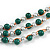3 Strand Green Ceramic, Silver Acrylic Bead Necklace - 44cm L - view 4