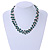 3 Strand Green Ceramic, Silver Acrylic Bead Necklace - 44cm L - view 2