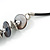 Dark Grey Coin Shell and Silver Tone Metal Button Bead Black Rubber Cord Necklace - 61cm L/ 7cm Ext - view 4