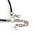 Dark Grey Coin Shell and Silver Tone Metal Button Bead Black Rubber Cord Necklace - 61cm L/ 7cm Ext - view 5