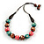 Green/ Brown/ Pink Round Wood Bead Cotton Cord Necklace - 66cm Long - view 6