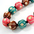 Green/ Brown/ Pink Round Wood Bead Cotton Cord Necklace - 66cm Long - view 3