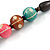Green/ Brown/ Pink Round Wood Bead Cotton Cord Necklace - 66cm Long - view 4