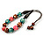 Green/ Brown/ Pink Round Wood Bead Cotton Cord Necklace - 66cm Long - view 5