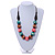 Green/ Brown/ Pink Round Wood Bead Cotton Cord Necklace - 66cm Long - view 2