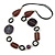 Purple/ Plum Ceramic Bead and Black Wood Ring Cotton Cord Necklace - 72cm L - view 3