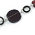 Purple/ Plum Ceramic Bead and Black Wood Ring Cotton Cord Necklace - 72cm L - view 4