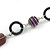 Purple/ Plum Ceramic Bead and Black Wood Ring Cotton Cord Necklace - 72cm L - view 5