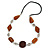 Brown Ceramic and Silver Tone Wire Element Black Faux Leather Cord Necklace - 76cm L
