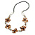 Taupe/ Brown Shell Floral Faux Leather Cord Long Necklace -76cm L