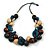 Chunky Cluster Wood, Resin Bead Black Cotton Cord Necklace (Teal, Brown, Natural, Black) - 72cm L/ 185g