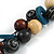 Chunky Cluster Wood, Resin Bead Black Cotton Cord Necklace (Teal, Brown, Natural, Black) - 72cm L/ 185g - view 3