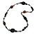 Black/ Brown Wood, Ceramic, Metal Beaded Black Cord Necklace - 96cm Long
