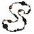 Black/ Brown Wood, Ceramic, Metal Beaded Black Cord Necklace - 96cm Long - view 3
